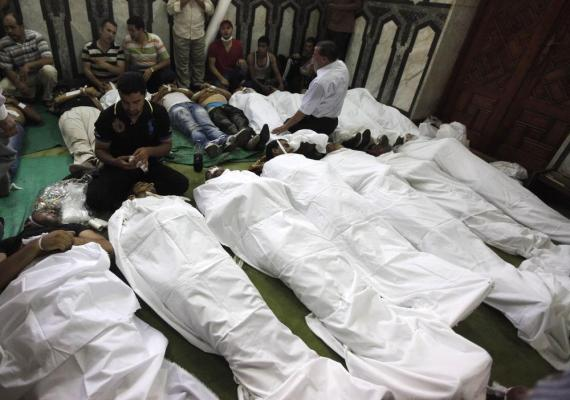 Bodies of protesters seen inside a mosque in Ramses Square in Cairo.