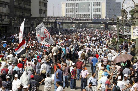 Protesters outside al-Fath Mosque in Ramses Square in Cairo.