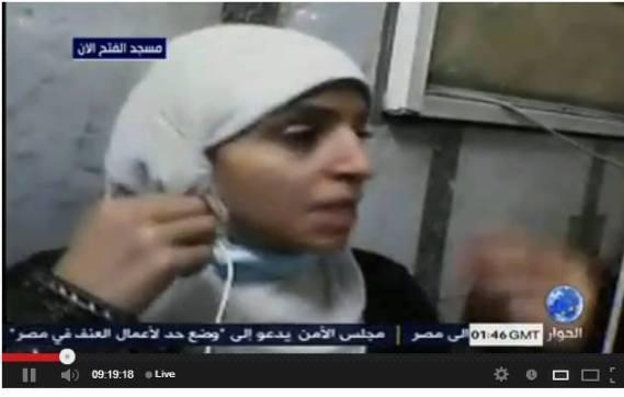 Syaimaa Awadh, menggagalkan pembantaian demonstran Mesir di Masjid al-Fath berkat Ipad yang menampilkan siaran langsung di Televisi al-Jazeerah.