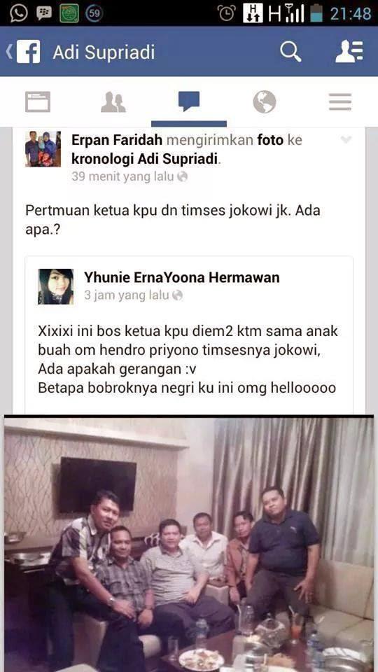 Foto Pertemuan Ketua KPU dan Tim Sukses Jokowi di Sosmed